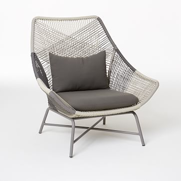 Huron Large Lounge Chair With Cushion, Gray-Individual