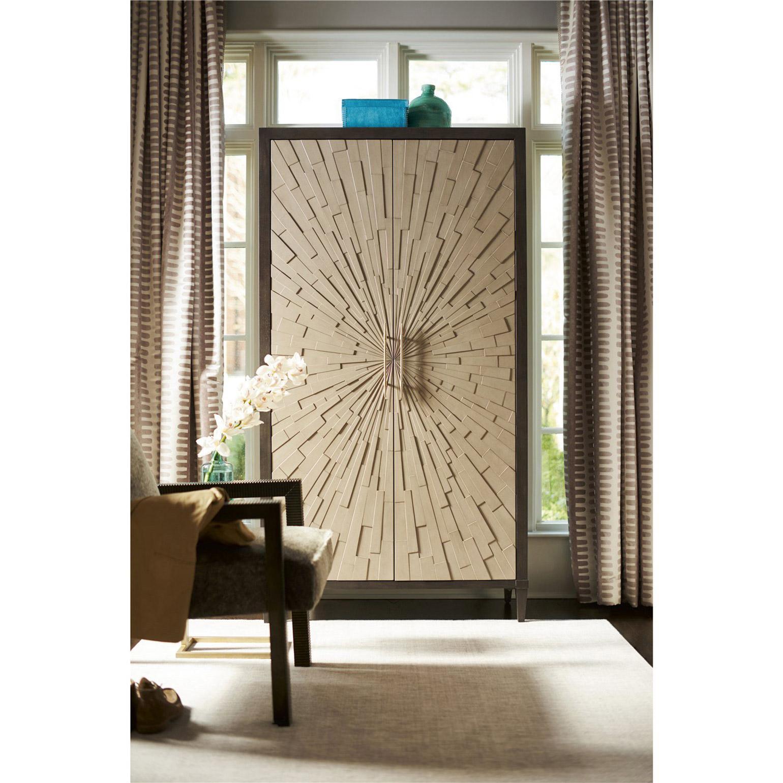 Zeya Mid Century Modern Starburst Gold Imprint Brown Wood Wardrobe Cabinet