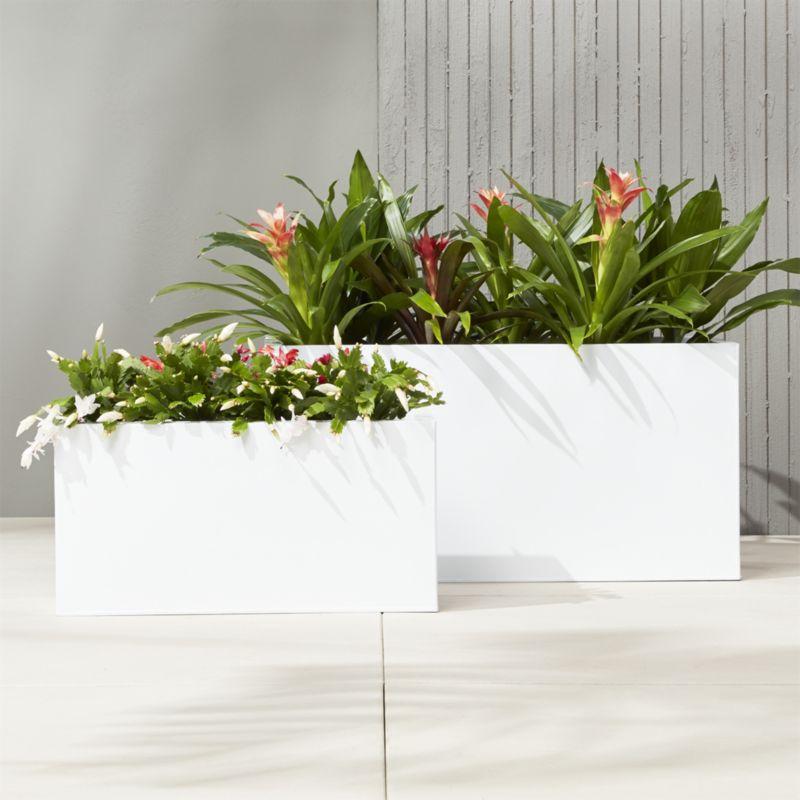 """blox 32"""" low galvanized hi-gloss white planter"""