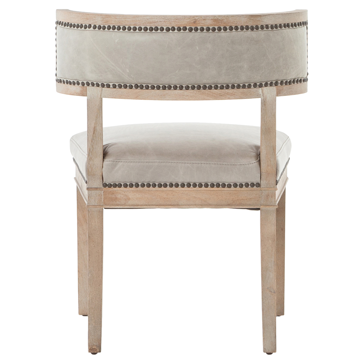 Livingston Modern Classic Curved Back Light Grey Leather Dining Chair - Pair