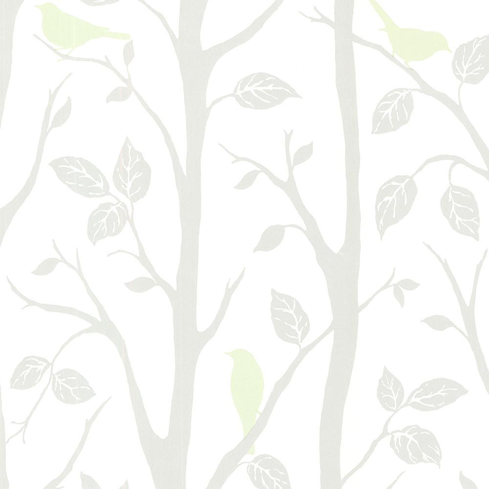 Corwin Light Green Bird Branches Wallpaper