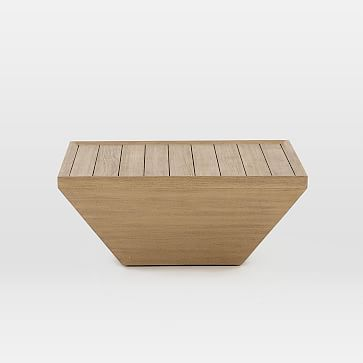 Teak Wood Square Outdoor Coffee Table, Washed Brown