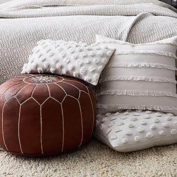"""Fringe Pillow Cover, 20""""x20"""", White"""