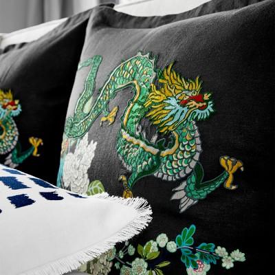 Schumacher Chiang Mai Printed Duvet, King, Black