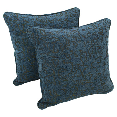 18-inch Corded Blue Floral Jacquard Chenille Throw Pillow - set of 2