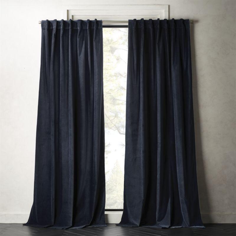 "Velvet Curtain Panel Midnight Blue 48""x108"""