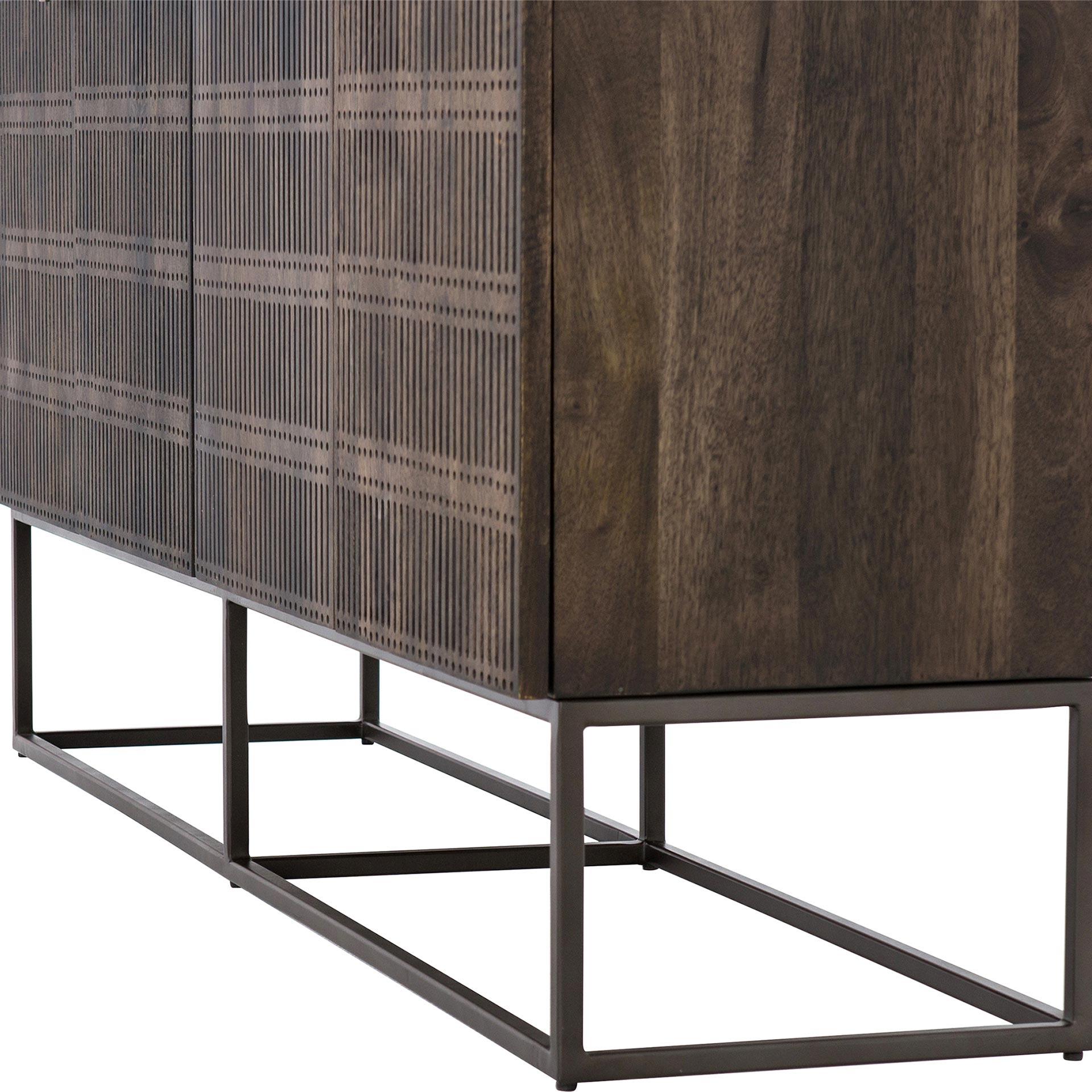 Carmela Modern Beautifully Carved 4 Door Brown Wood Slim Legs Sideboard