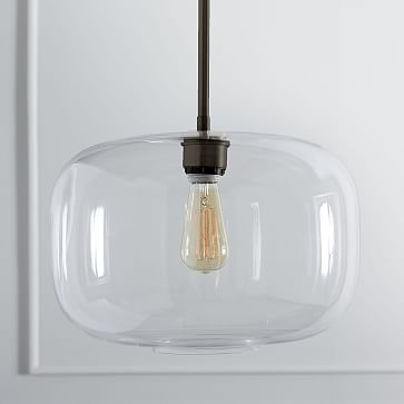 Sculptural Glass Pendant, Large Pebble, Clear Shade, Bronze Canopy
