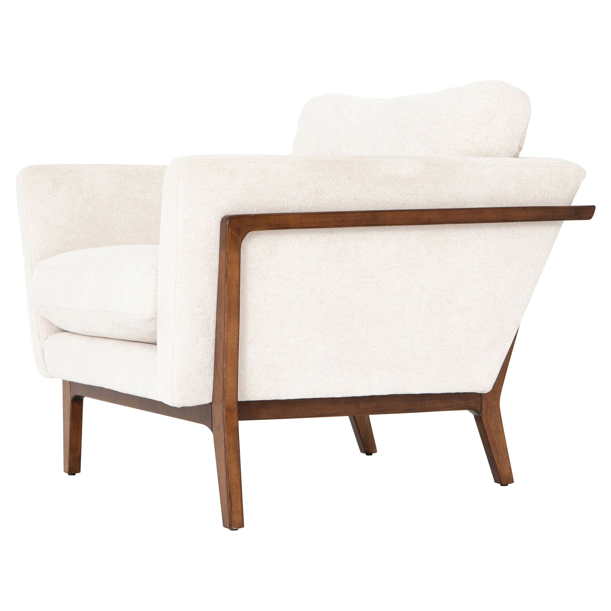 Dorothy Modern Classic Ivory Upholstered Birch Wood Arm Chair
