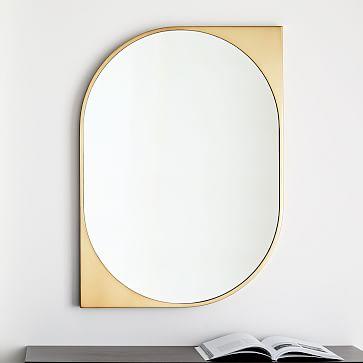 Cateye Metal Wall Mirror, Antique Brass