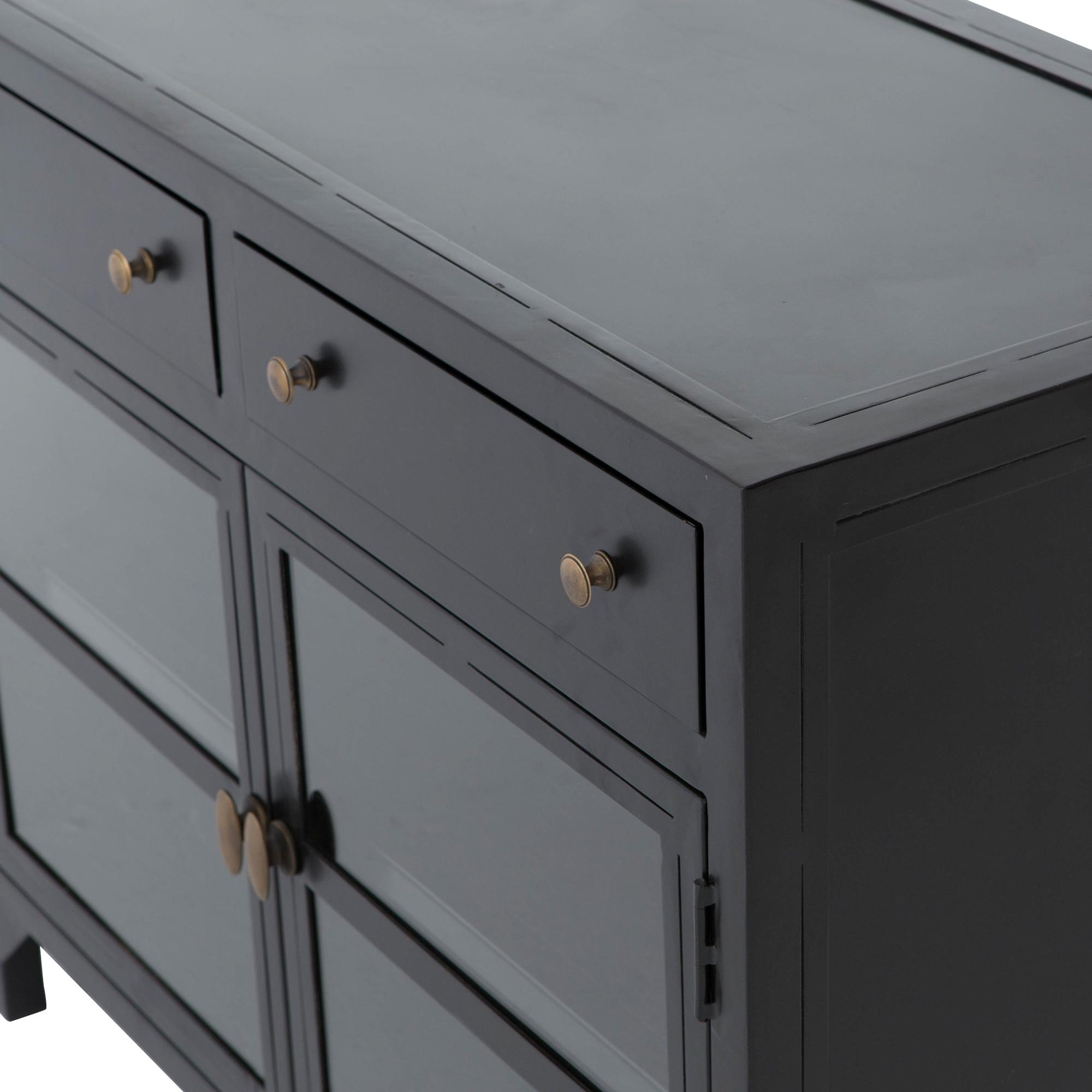 Katren Industrial Matte Black Metal Brass Box Cabinet