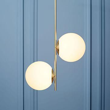 Sphere + Stem Pendant, Brass/Milk Glass, 2-Light