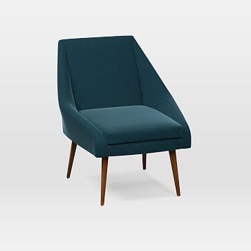 Parker Chair, Performance Velvet, Lagoon, Pecan