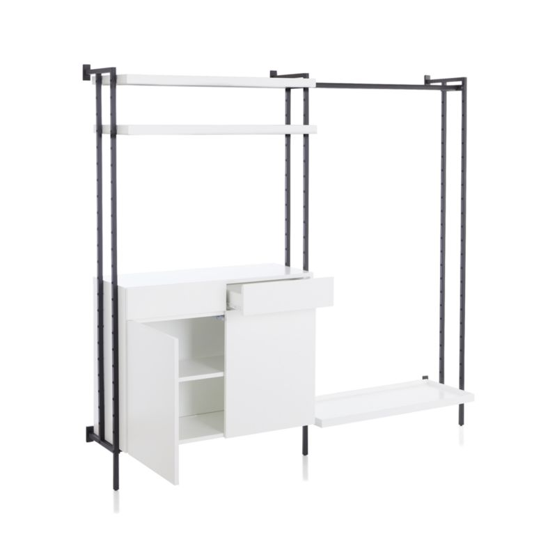 Flex Modular Clothing Rack and Closed Storage Cabinet with Shelves