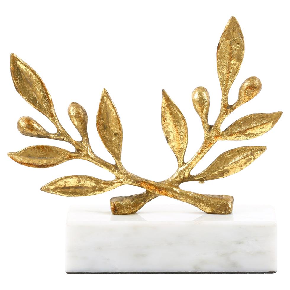 Olive Branch Gold Leaf Marble Sculpture