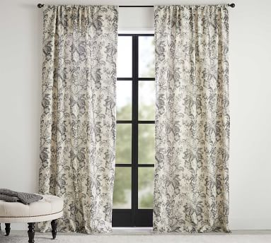"Thea Print Curtain, Gray Multi, 108 x 50"""