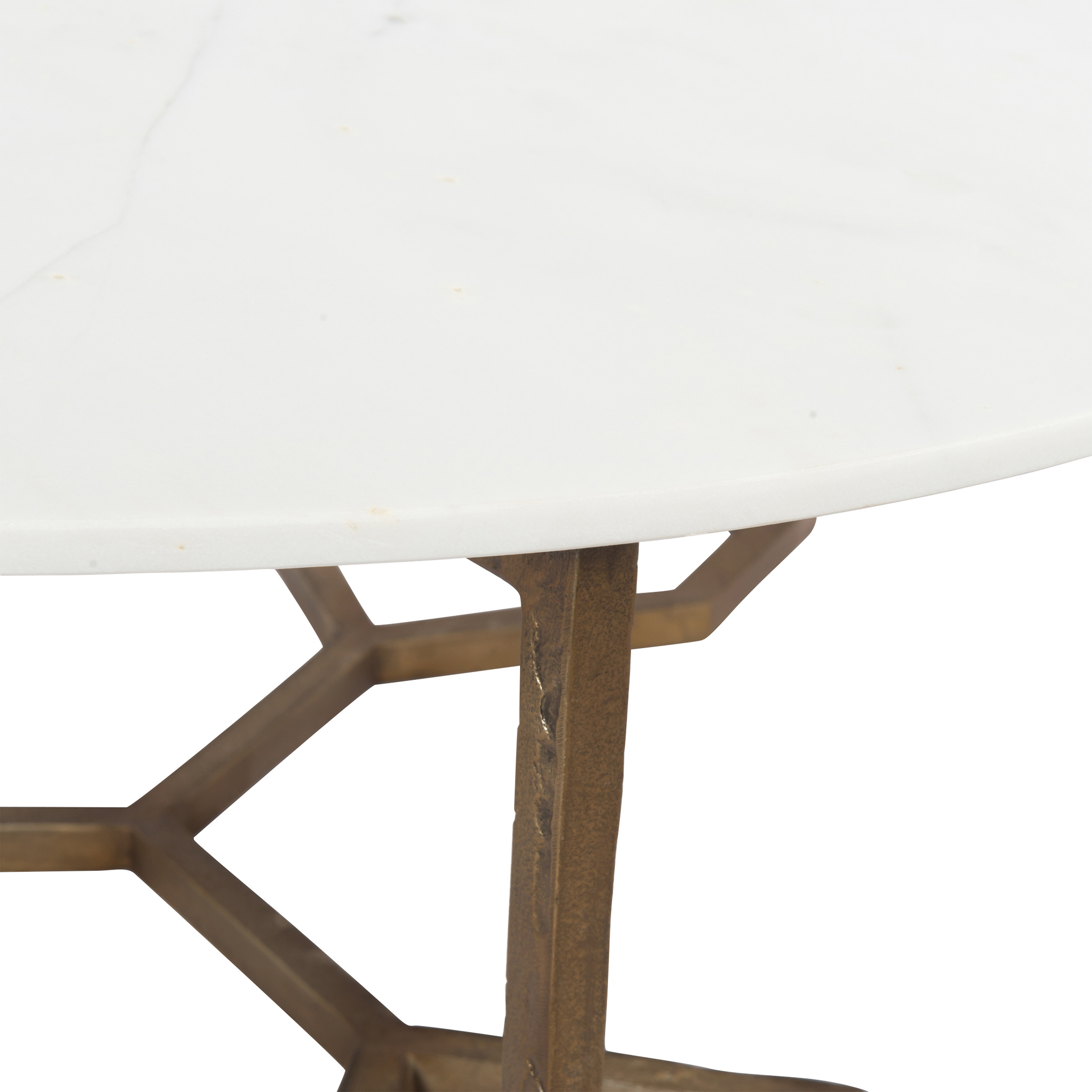 Zia Modern Geometric Gold Frame Round White Marble Top Coffee Table