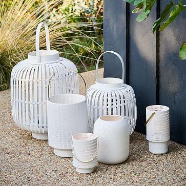 Modern Porcelain Hurricane, Small, White