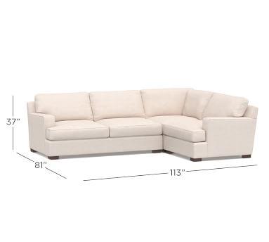 Townsend Square Arm Upholstered Right Arm 3-Piece Corner Sectional, Polyester Wrapped Cushions, Brushed Crossweave Light Gray