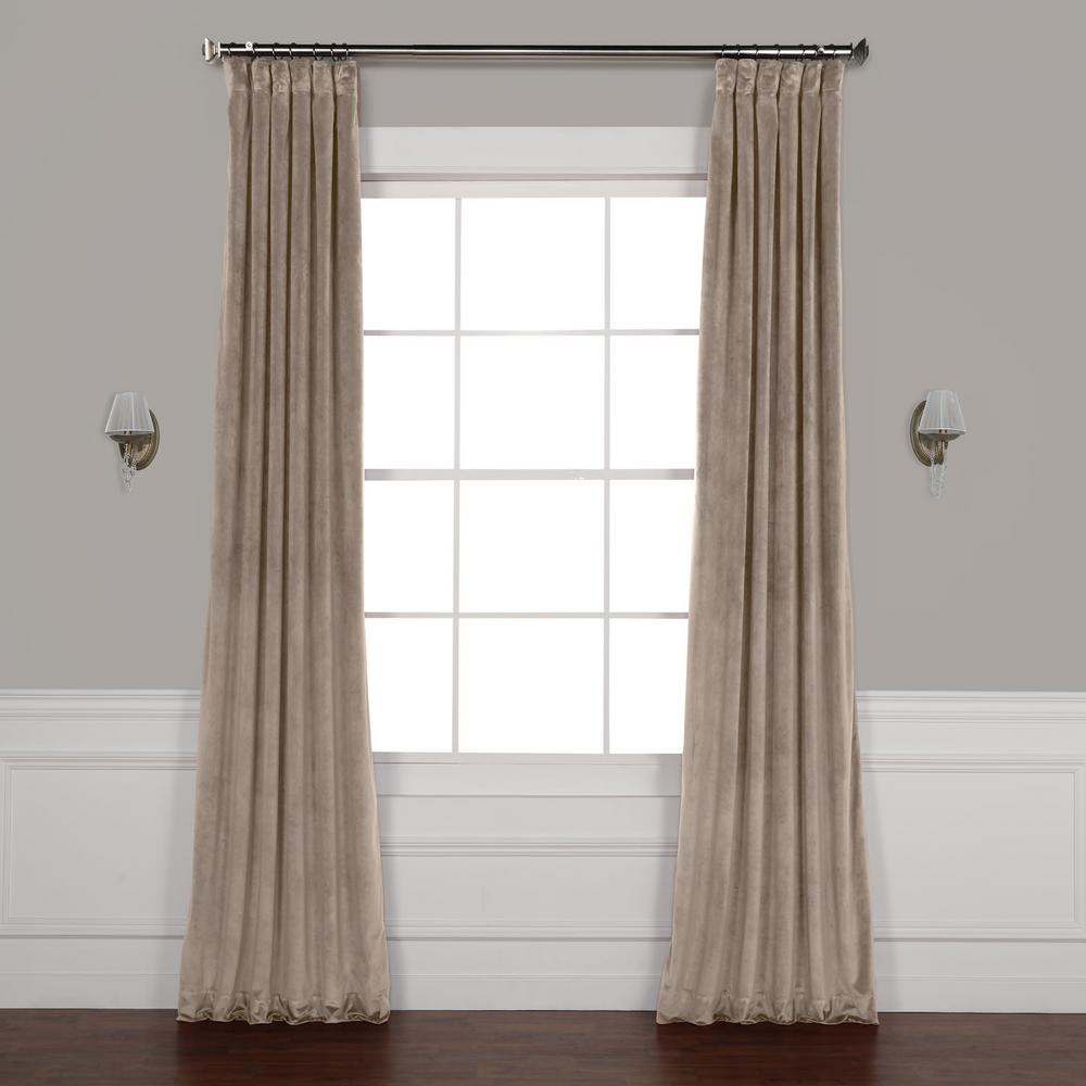 Exclusive Fabrics Furnishings Gallery Taupe Brown Plush Velvet Curtain 50 In W X 108 In L Home Depot