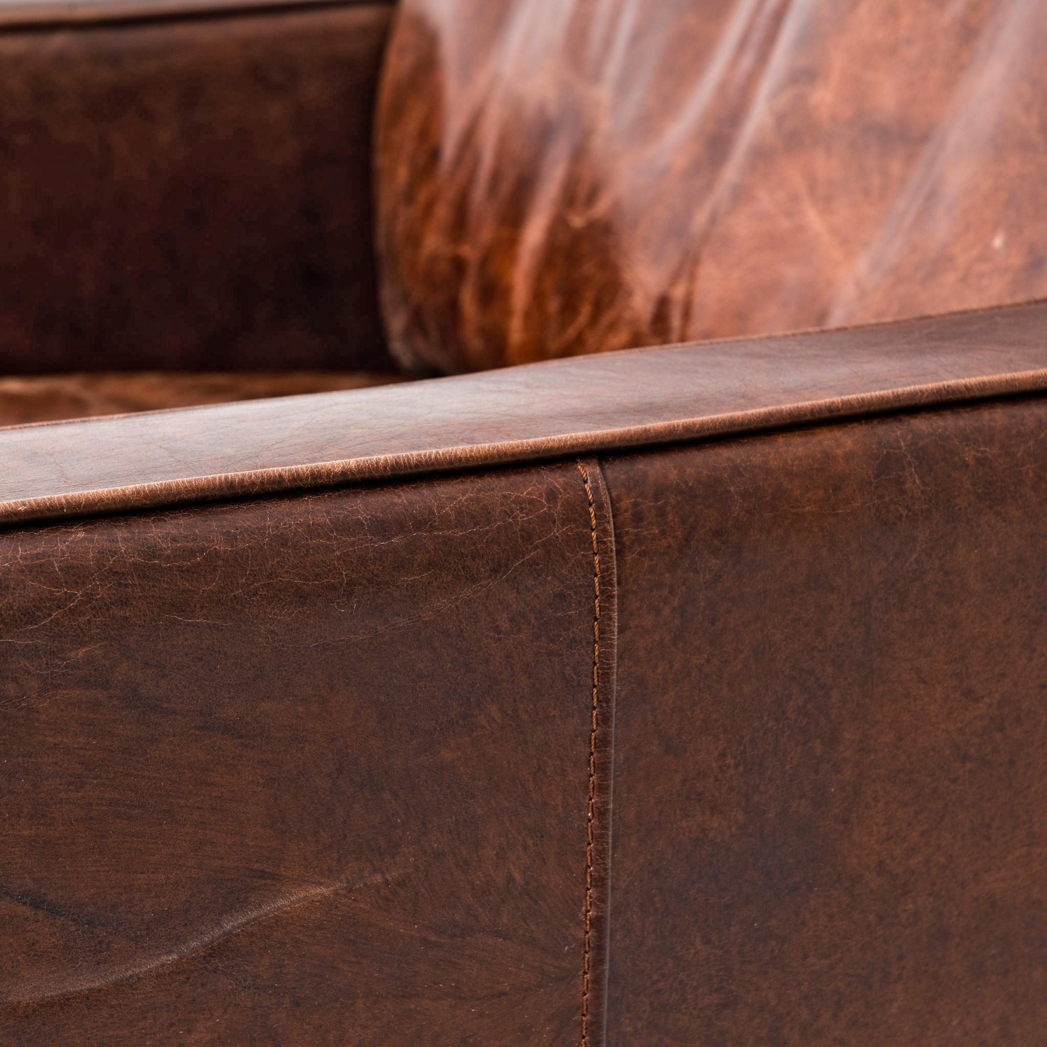 Hemingway Rustic Lodge Cigar Brown Leather Brass Nailhead Armchair