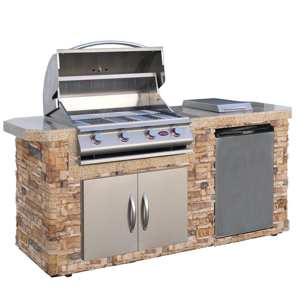 Cal Flame 7 ft. Cultured Stone Grill Island with 4-Burner Gas Grill in Stainless Steel