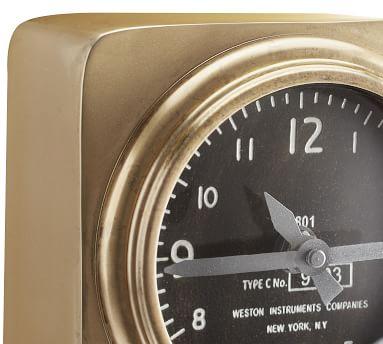 Aviator Desktop Clock, Brass