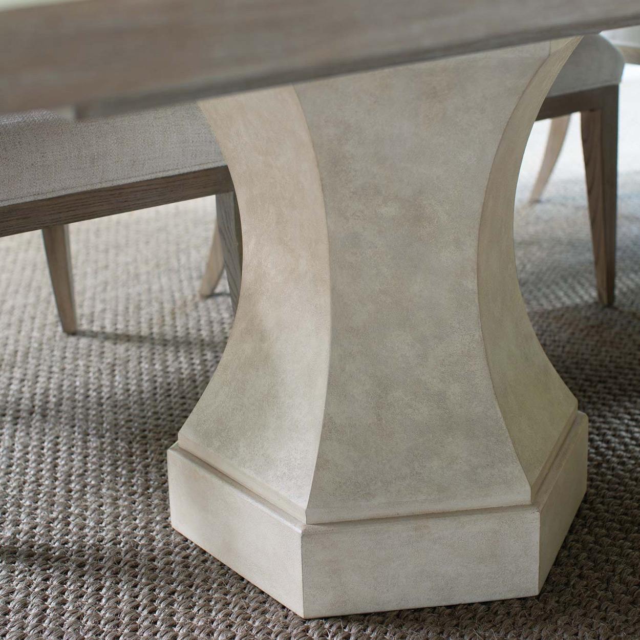 Sarabeth Modern French Brown Wood White Hexagon Pedestal Base Extendable Rectangular Dining Table - 92-132 inch