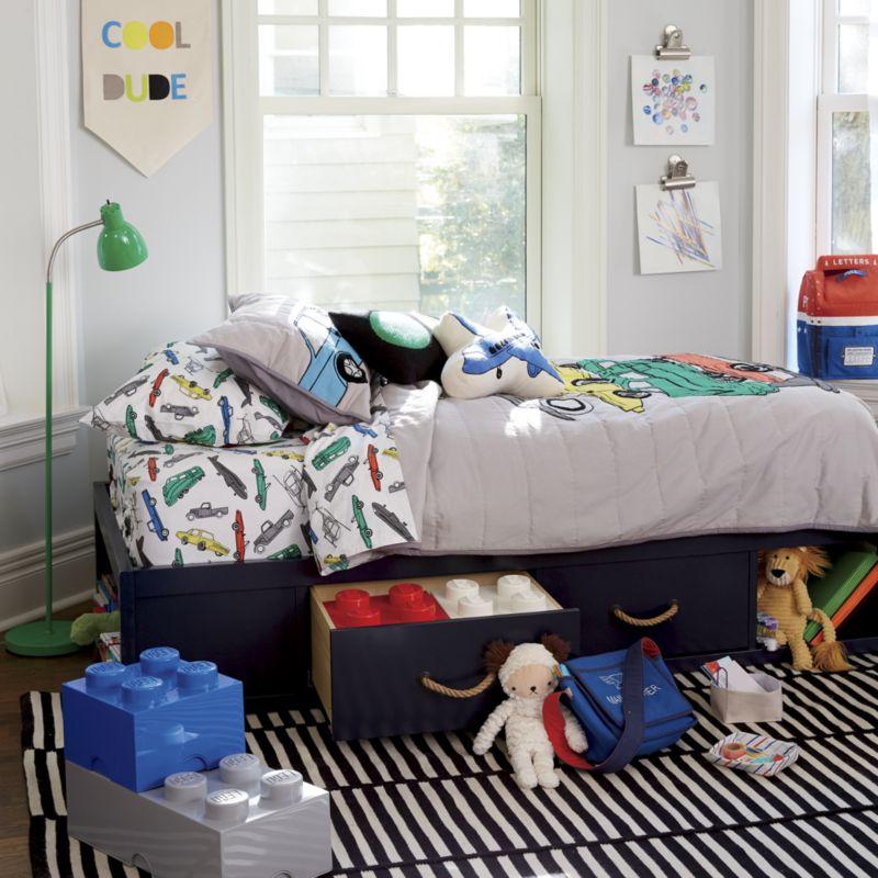 Topside Dark Blue Full Storage Bed