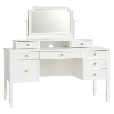 Auburn Desk + Vanity Mirror Hutch + Desk Hutch Set