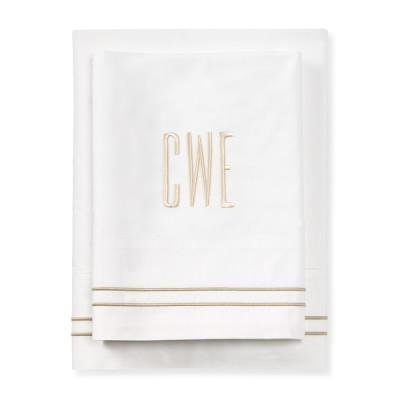 White Hotel Bedding, Duvet Cover, Full/Queen, Navy