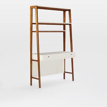 Modern Wall Desk, Pecan/White