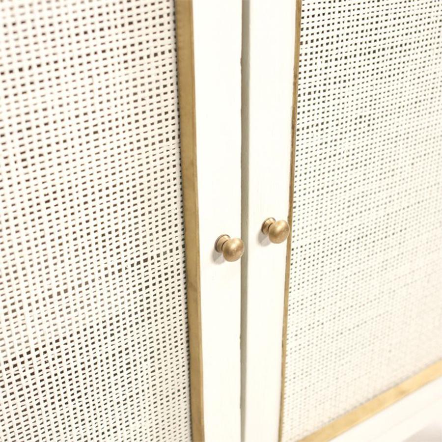 Jaden Modern Classic White Rattan Brass 2 Door Bar Cabinet Buffet