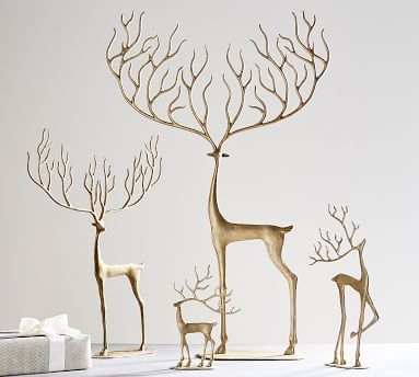 Merry Reindeer Brass Objects - Small