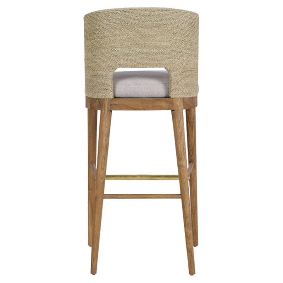 Alona Modern Classic Woven Seagrass Beige Upholstered Teak Counter Stool