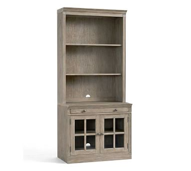 Livingston Bookcase With Glass Cabinets, Gray Wash