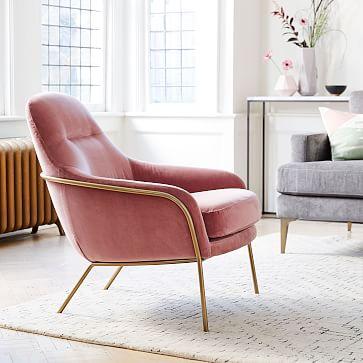 Valentina Chair, Astor Velvet, Pink Grapefruit, Light Bronze