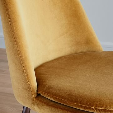 Finley Low-Back Upholstered Dining Chair, Astor Velvet, Saffron, Gunmetal