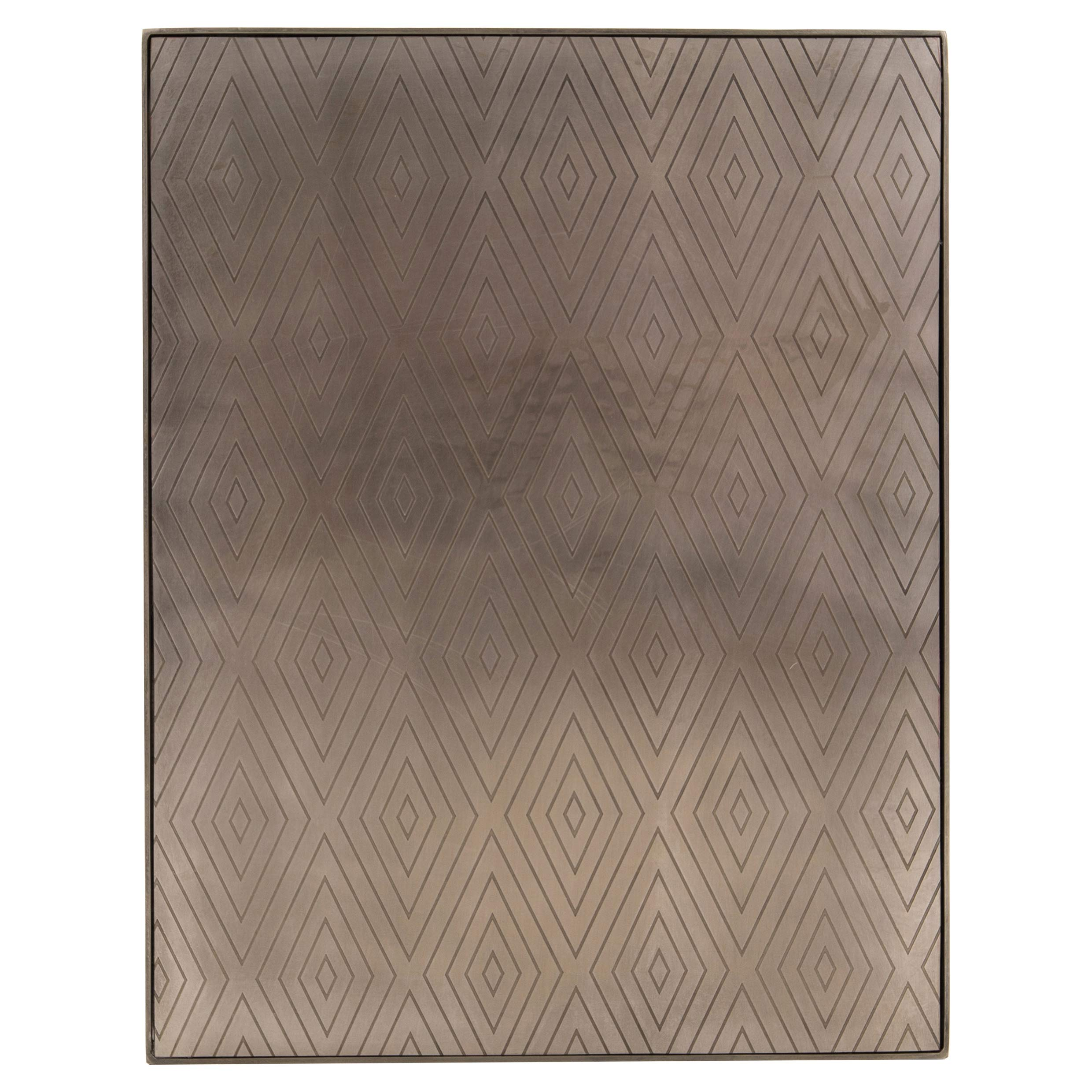 Kyline Modern Classic Etched Diamond Pattern Pewter Stainless Steel C Table