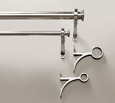 "PB Standard Drape Rod & Wall Bracket, 1.25"" diam., XX-Large, Polished Nickel Finish"