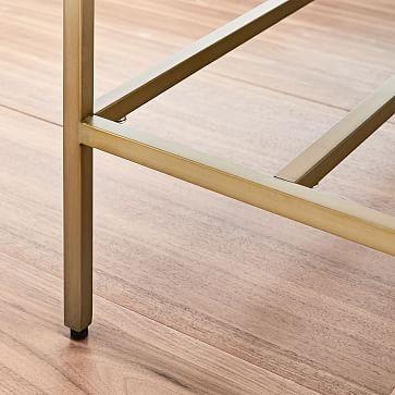 Zane Mini Desk, White Lacquer/Antique Brass