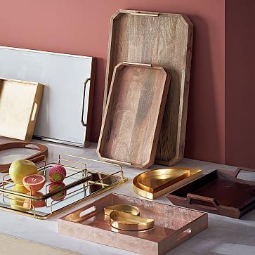 "Wood Tray, 14""X18"", Gold"