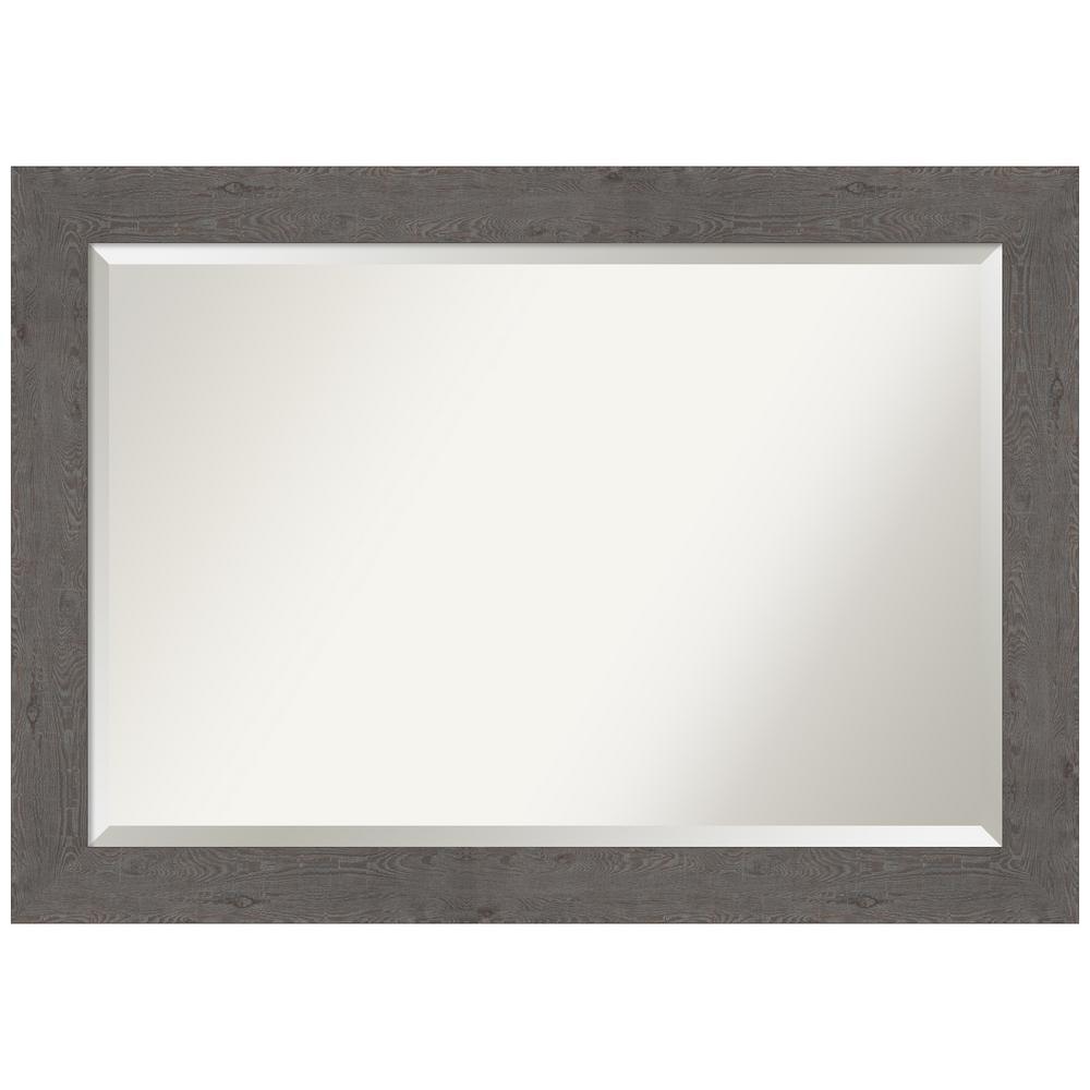 41 38 In X 29 38 In Rustic Plank Grey Bathroom Vanity Mirror Home Depot