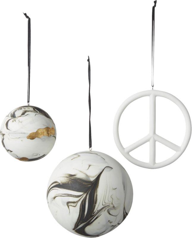 Bone China Swirled Marble Ornament with Gold