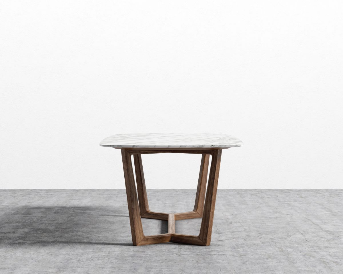 """Evelyn Dining Table - Walnut White Carrara Marble - 71"""""""