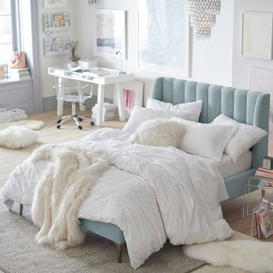 Avalon Channel Stitch Bed, Queen, Gray Everyday Velvet, QS EXEL