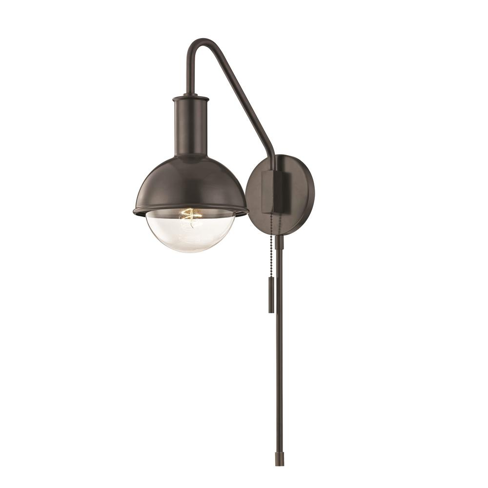 Mitzi by Hudson Valley Lighting Riley 1-Light Old Bronze Wall Sconce with Plug