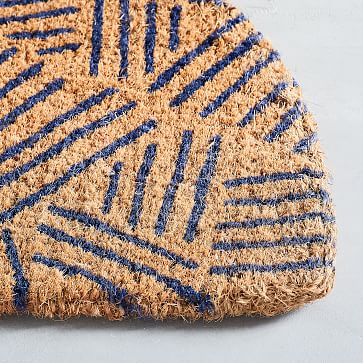 Tossed Dash Semi Circle Doormat, Navy, 18x30-Individual