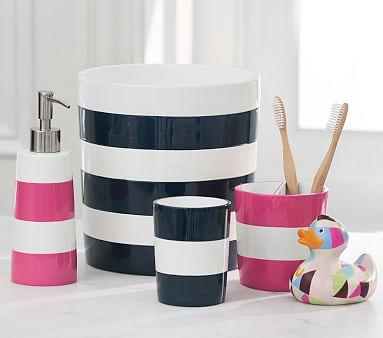 Navy Stripe Soap Dispenser