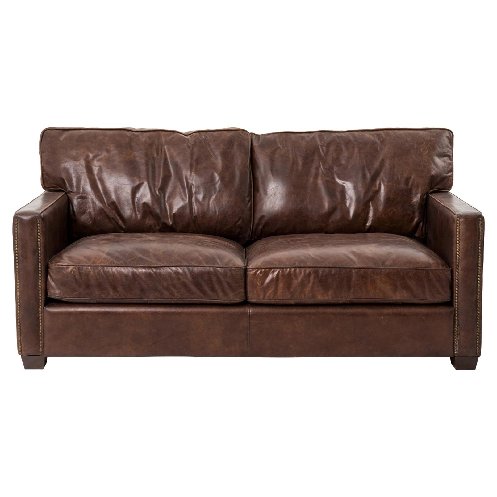 Setter Rustic Lodge Antique Brass Nailhead Trim Brown Leather Cushion Back Sofa